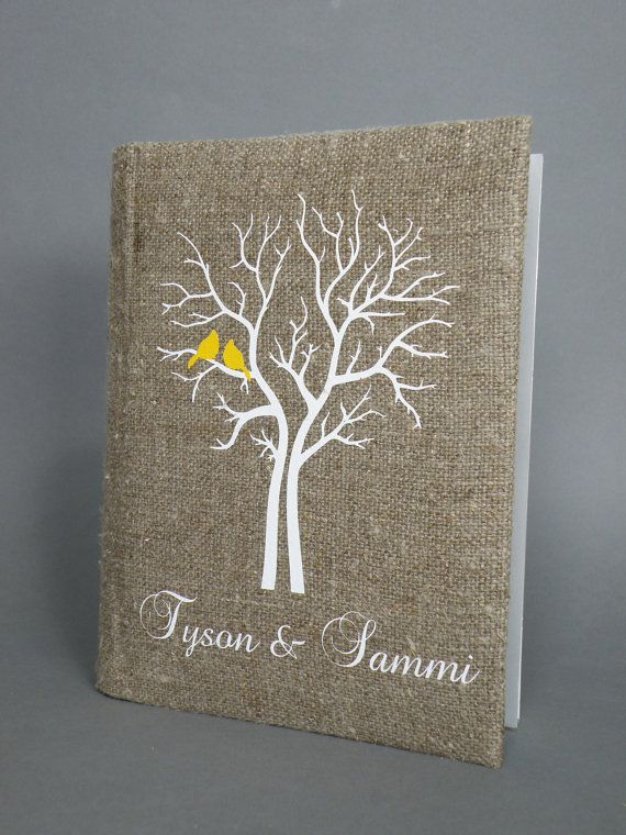 Wedding rustic photo album burlap Linen Bridal shower anniversary Yellow Cardinals on the white Tree via Etsy