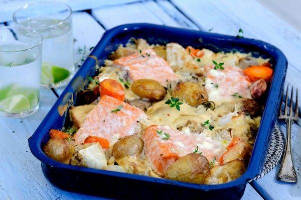 Fisk og rotgrønsaker i en form, recipe in Norwegian | Fru Timian