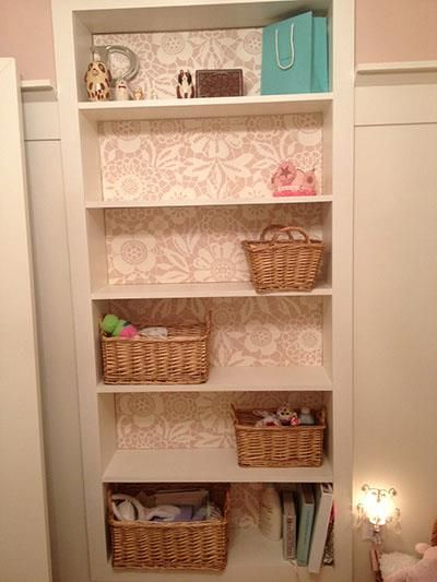 Our Skylar's Lace stencil looks perfect and oh-so-sweet on this bookcase backing!