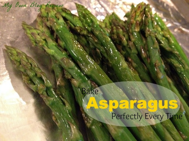 Preheat your oven to 425 degrees Place the stalks in a bowl and coat with 1 T of olive oil. Place the asparagus on a baking sheet lined with aluminum foil, sprayed with oil. Season with salt and pepper, you can even add garlic, red peppers or grated parmesan cheese Bake until tender-slim stalks 5-6 minutes; thicker stalks about 15 minutes Pierce with a fork to check if they are complete. Drizzle with lemon or lime juice, or balsamic vinegar