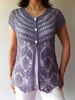 This feminine seamless vest is worked from the neck down in one piece starting with the yoke. Two beautiful stitch patterns are used – one for the yoke, and one for the bodice with picot hem. Simple edgings finish off the neckline and armholes.