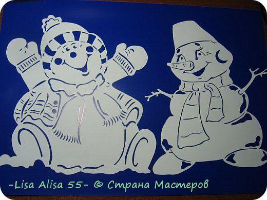 Картина панно рисунок Новый год Вырезание Снеговики Бумага фото 2