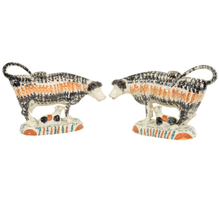 A Pair of English Sponged Prattware Cows and Calves circa1790