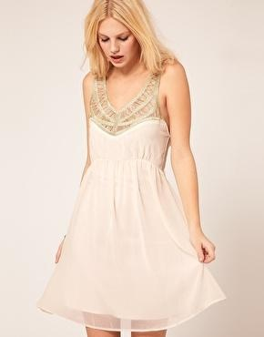 Chiffon Dress With Embellished Neck