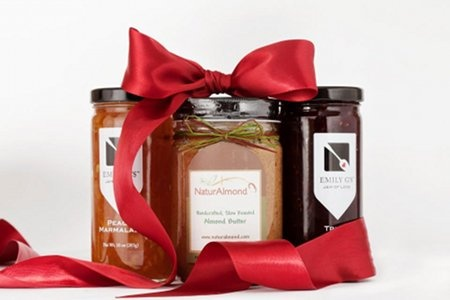 Great gift box for $29.99: two artisan jams and hand-crafted almond butter. Yum.