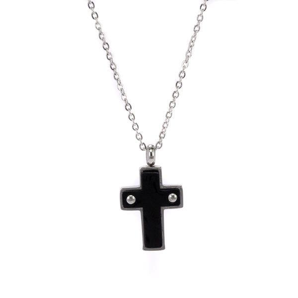 Ανδρικός σταυρός ατσάλι ,μαύρο σμάλτο
