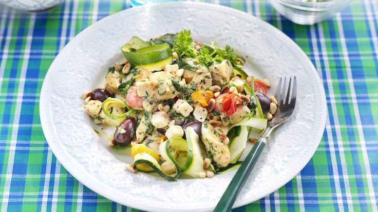 Squashpasta med kyckling och feta | Allas.se