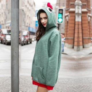 女の子グリーンジップアップフード付きスウェットシャツコスプレチキンパーカー