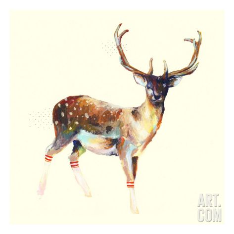 Deer Wearing Gym Socks Premium Giclee Print by Charmaine Olivia at eu.art.com 35x51cm