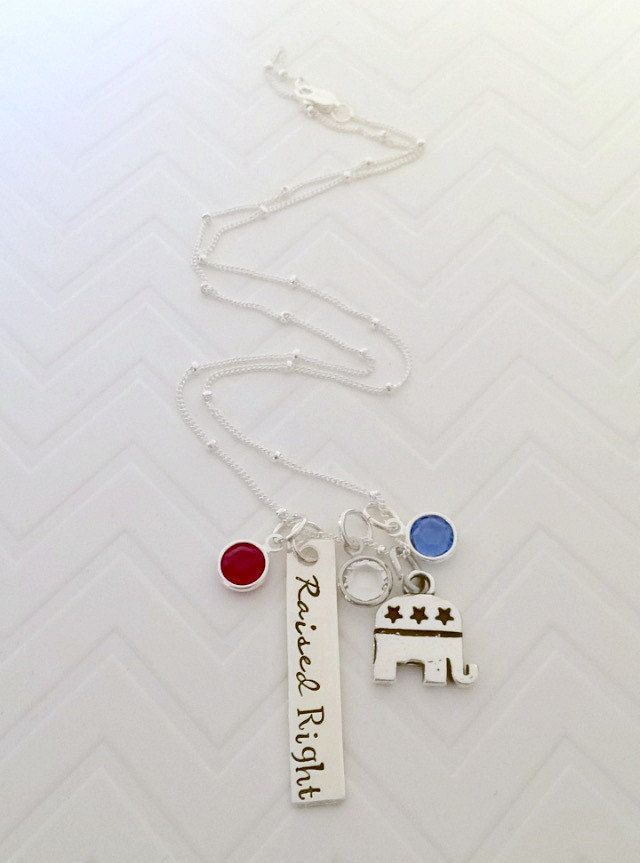 Raised Right Necklace - Hand Stamped Jewelry - Political Jewelry - Republican Jewelry by thecharmedwife on Etsy
