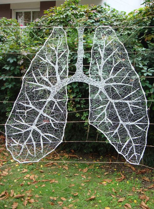 """Deep Breath"" thread installation art by Anastassia Elias"
