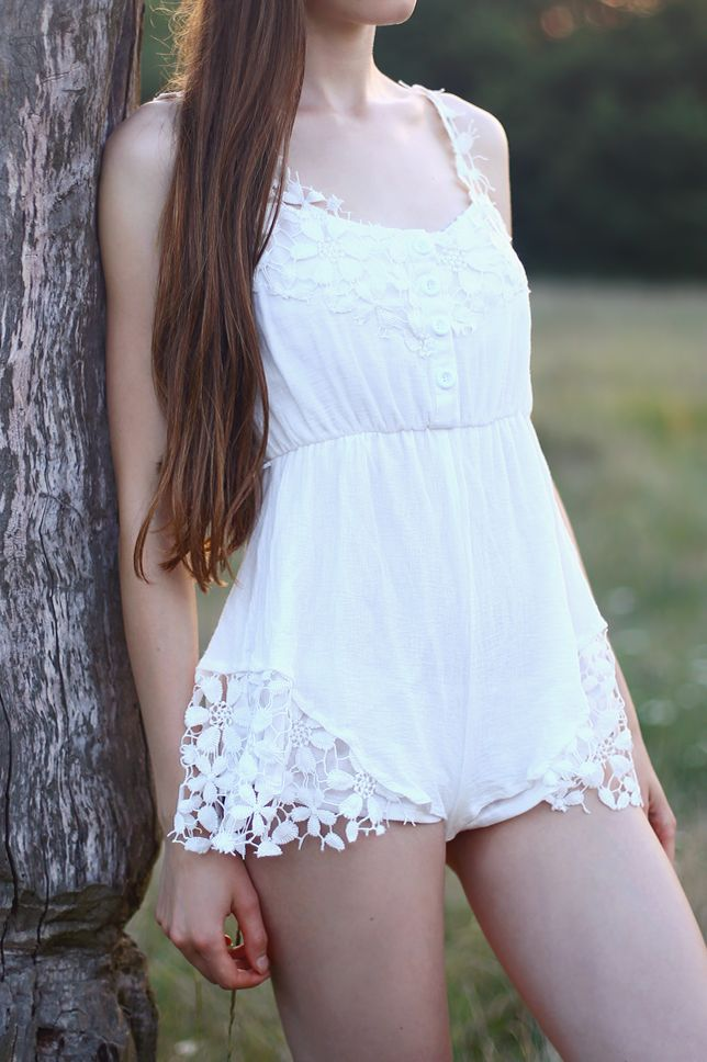 Choies Design Limited White Angel Romper Playsuit With Lace Hem #choies #white #playsuit #fashion