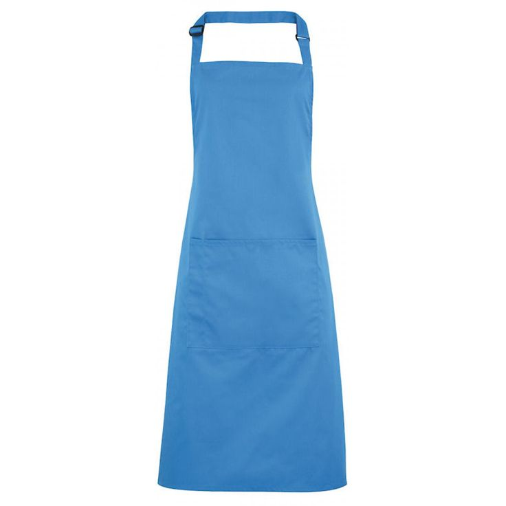 Schort met zak saffier blauw