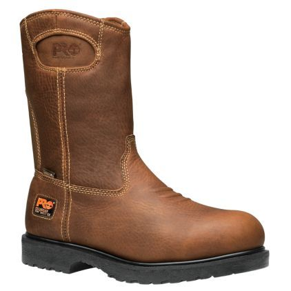 Pull on the Timberland PRO® Wellington work boots: Part of the TiTAN® collection, these leather boots take any job on.