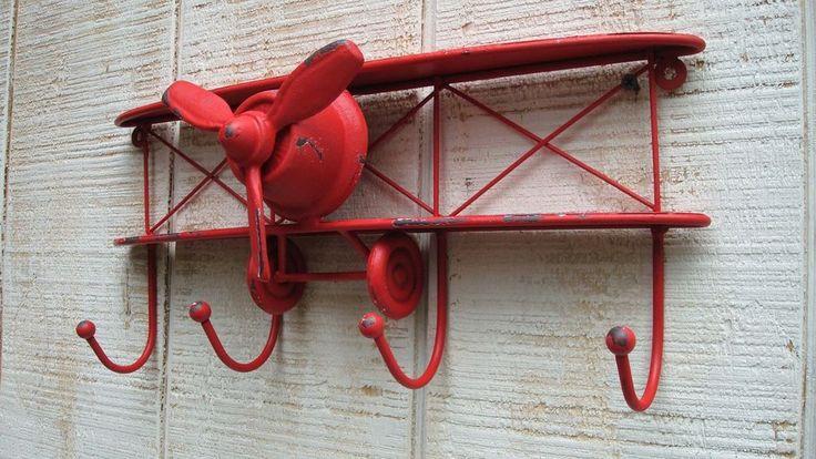 Metal Wall Art Decor Vintage Airplane Nursery BOY Decor Hook Cast Iron Coat