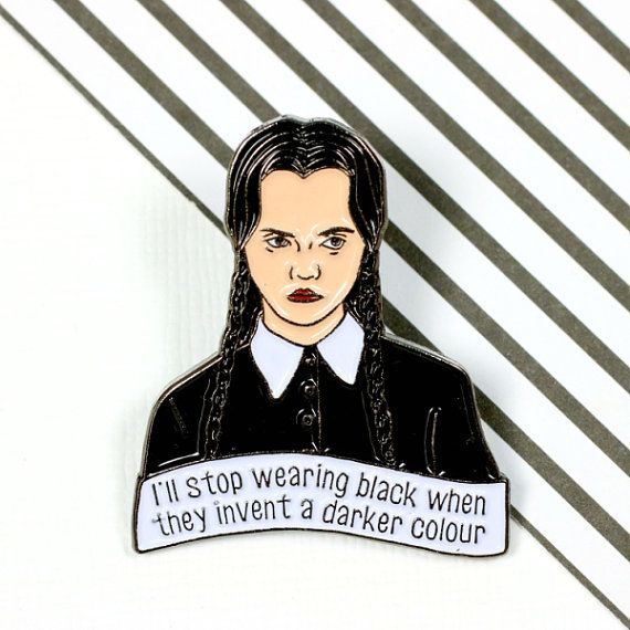 Wednesday Addams soft enamel pin, with butterfly clutch on the reverse. Teeny enough to adorn your bag, lapel, pocket or whatever you fancy. Hand designed here in the UK, and manufactured in exclusive low quantities. This pin measures 30mm high, and is made from lovely smooth gunmetal toned enamel for a soft wearing finish.