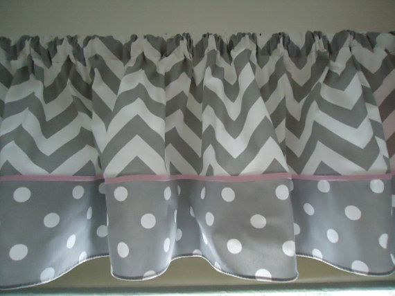 Grey Chevron and White Polka dots Valance Curtain wide. Custom pipping cord. Match crib skirt avaible. Free Shipping