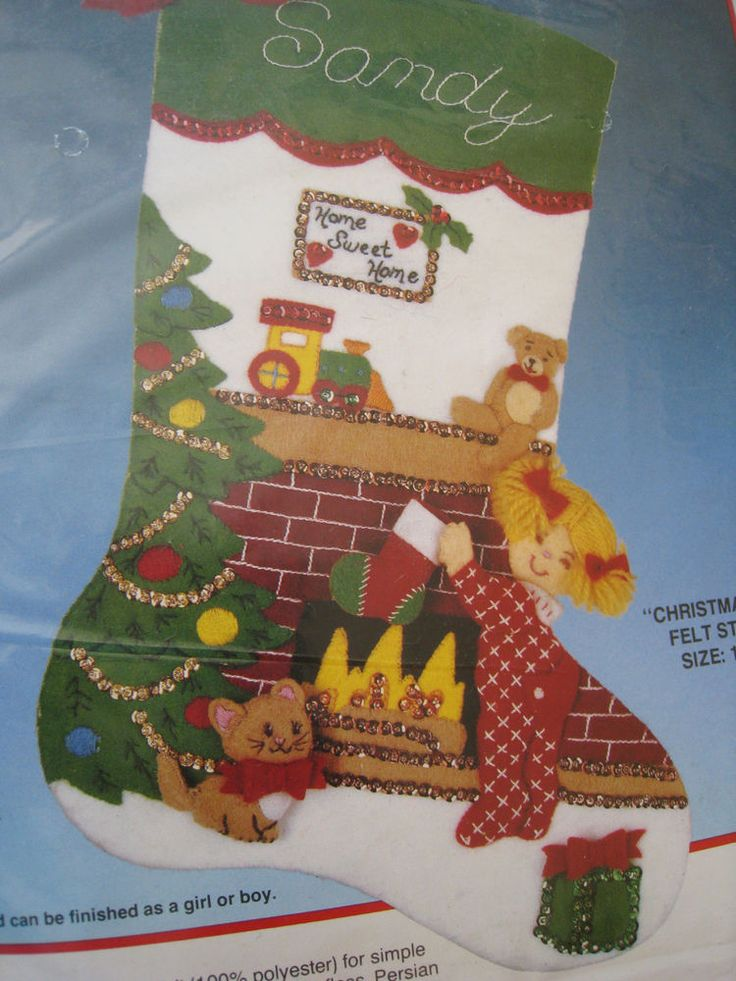 Bucilla Felt Applique Holiday Stocking Kit,CHRISTMAS EVE,Child Boy or Girl,18""