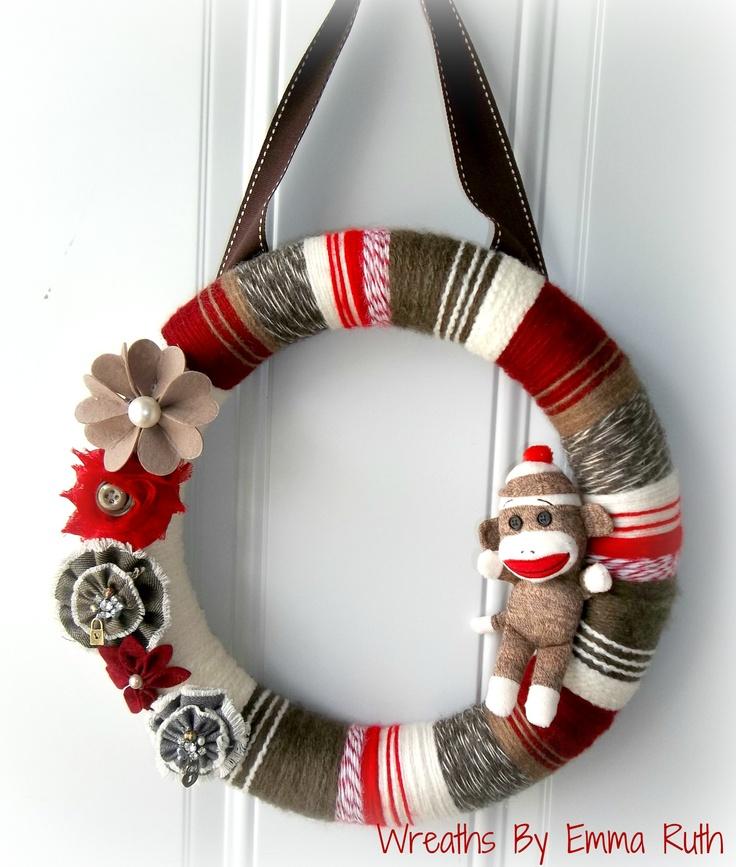 I made a sock monkey wreath!