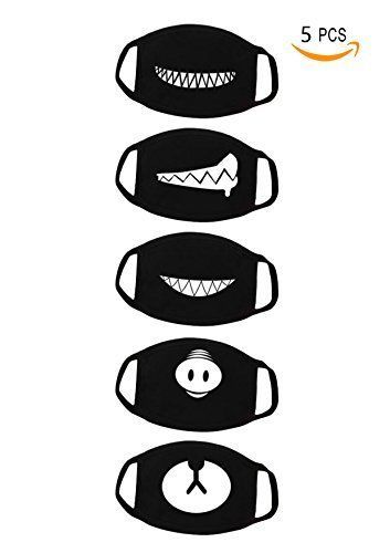 36d893736f9 5 Pack Face Mouth Mask Anti Dust Teeth Pattern Cute Unisex Cotton Blend  Black  fashion  clothing  shoes  accessories  costumesreenactmenttheater ...
