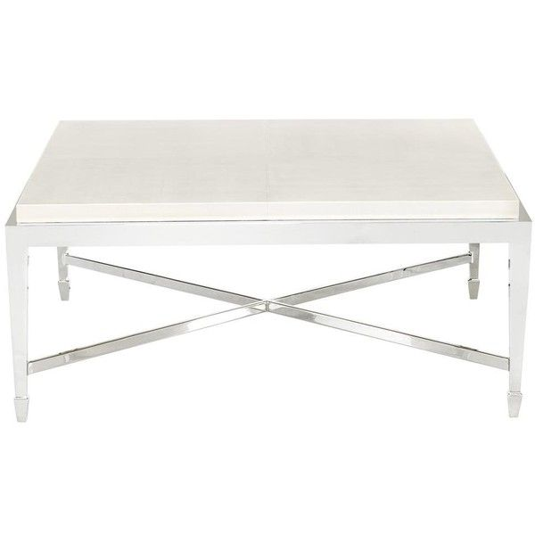 Gretta Ivory Leather Hollywood Regency Nickel Coffee Table ($1,408) ❤ Liked  On Polyvore Featuring