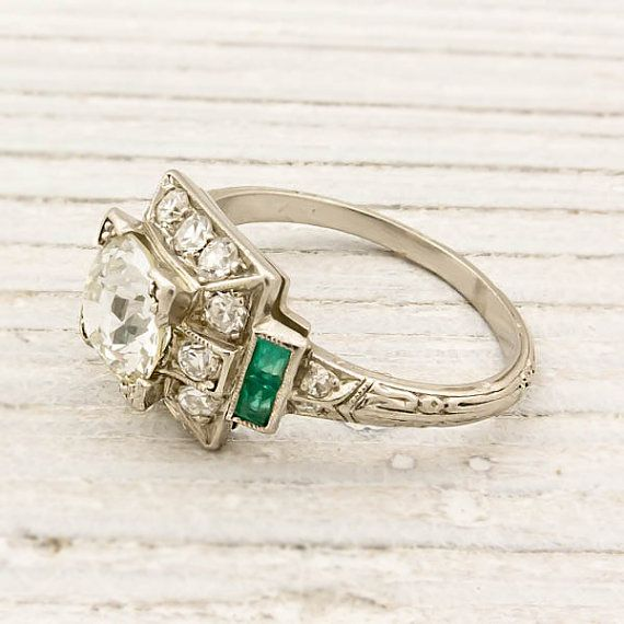 diamond and emerald vintage engagement ring: Vintage Engagement Rings, European Cut Diamonds, Wedding, Vintage Rings