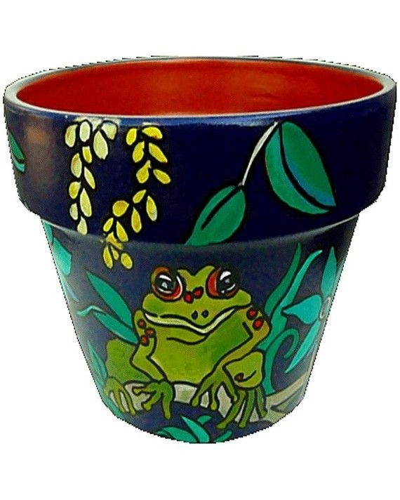 Frogs in Nature - 8 inch original hand painted flower pot - terra cotta pottery via Etsy