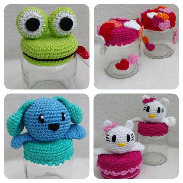 Omhaakte potjes en doosje (met link naar gratis patronen) / crochet jars and box (with link to free patterns)