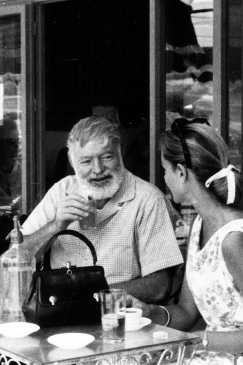 Ernest Hemingway and Lauren Bacall in Spain, circa late 1950s.