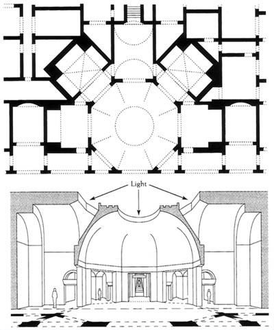 plan and section of the octagonal hall, Domus Aurea, Rome, 64-68 CE
