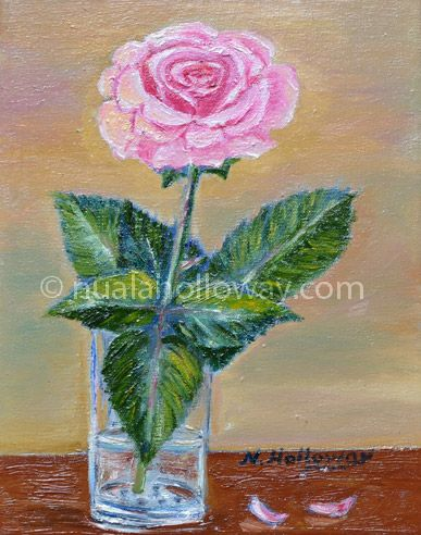 """Pink Rose"" by Nuala Holloway - Oil on Canvas #Rose #Flower #NualaHolloway"