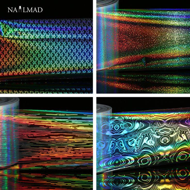 1 rotolo di 4*100 cm Olografica Stagnole Del Chiodo Trasferimento Laser Scala di Pesci Nail Art Trasferisca Stagnola Starry Sky Sticker carta