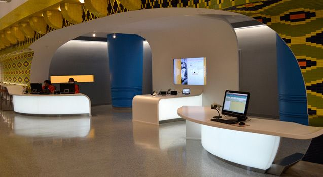 LED Backlit Curved 3Form Reception Desks - Cleveland Public Library