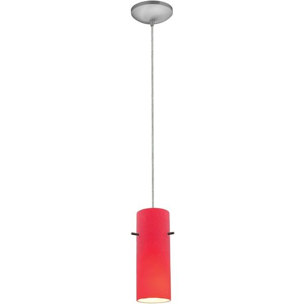 25 red pendant light pinterest access cylinder 4 wide brushed steel mini pendant 82 liked on polyvore featuring home lighting ceiling lights chandeliers red red hanging lamp aloadofball Images
