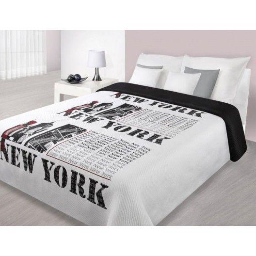 Stylový přehoz na manželskou postel s motivem velkoměsta NEW YORK bílo černé barvy - dumdekorace.cz