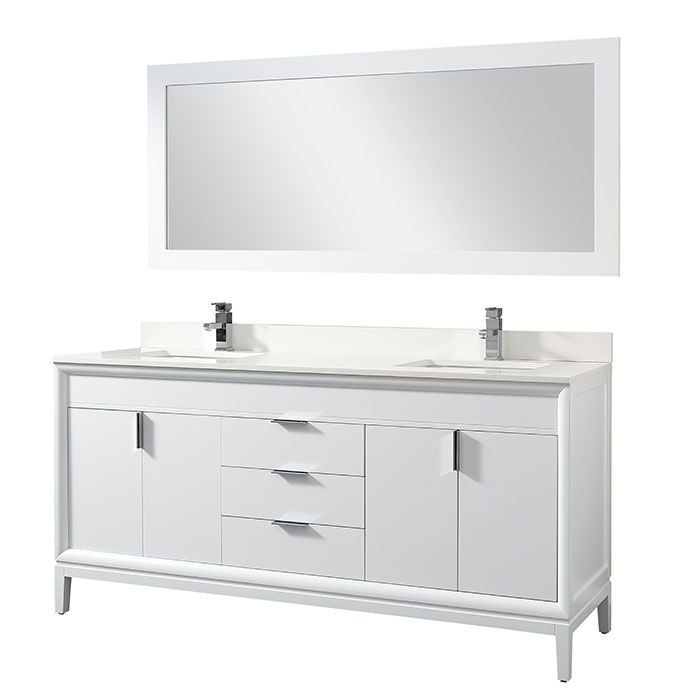 8672 White 73 Inch Double Sink Bathroom Vanity With Quartz Counter Mirrors And Faucet Modernbathrooms Ca Double Sink Bathroom Vanity Bathroom Vanity Bathroom Sink Vanity