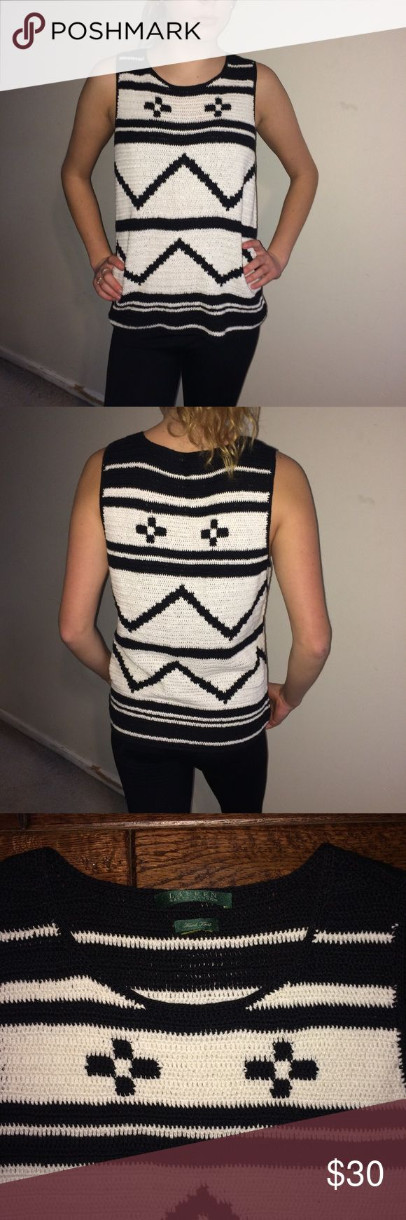 "Lauren By Ralph Lauren Hand Knit Sleeveless Shell Excellent, very lightly used condition! 55% Linen and 45% Cotton. Hand wash. Black and white southwestern design. This was a hand-me-down from my friend who said she thinks she wore it once. She did cut out the content and care tags. (I found them online.) For reference, my model is 5 feet 8.5"" tall and weighs 120 pounds. I believe this top is probably a size medium as it is slightly big on her. SE Lauren Ralph Lauren Sweaters"