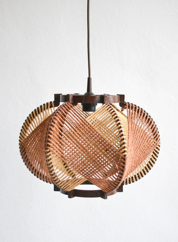 Vintage hemp rope pendant lamp shade  Rustic string lamp from the late 1960s / early 70s with a natural look in brown. The lamp fits perfectly into