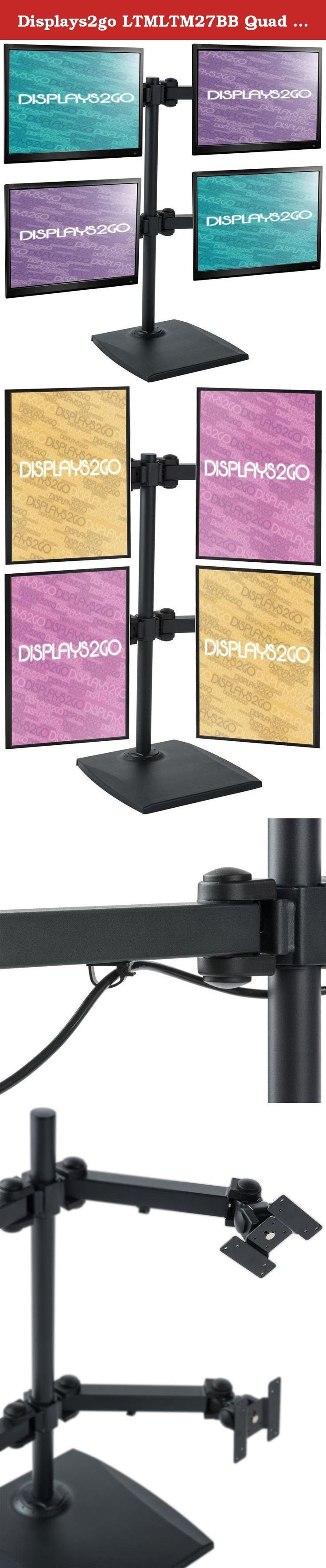 """Displays2go LTMLTM27BB Quad Desktop Monitor Stand for 10-24"""" Screens, Height Adjustable, Tilting. This quad monitor stand for desktop fits (4) 10"""" x 24"""" screens, up to 13 lbs. each. The screens rotate (landscape or portrait orientation), tilt (up and down), and swivel. The stand is perfect to save space in your office or home. The stand accommodates flat panel screens with 75 x 75 and 100 x 100 VESA standards."""