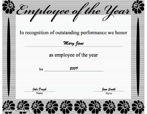 Reward your best employee with theis printable Employee of the ...