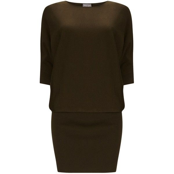 Phase Eight Becca Batwing Dress (5.630 RUB) ❤ liked on Polyvore featuring dresses, clearance, green, batwing-sleeve dresses, phase eight, batwing dress, brown dresses and body conscious dress