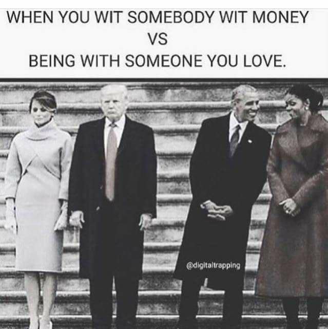 Trumps vs Obamas - Honestly, I occasionally feel sorry for Melania. He treats her like crap in public. I can only imagine how much worse he treats her in private.