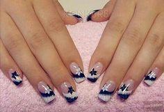 Black - White - Silver glitter - Flowers - Nail design