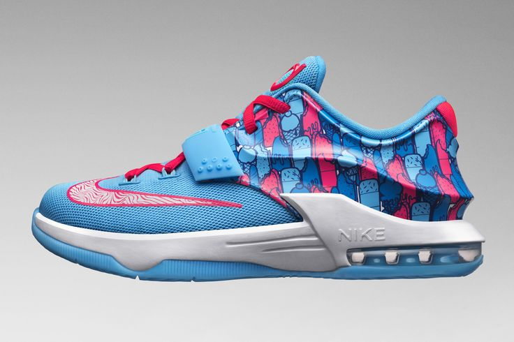 """Nike KD 7 GS """"Frozens"""" *Cute with the pink tank, baby blue basketball shorts, and white fitted cap."""