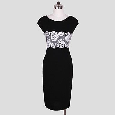 skjede / kolonne scoop knelang polyester semi-formell kjole - NOK kr. 138