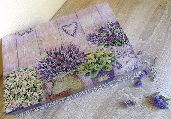 Tea Box Decoupage Wooden Tea Box Vintage Tea box Tea
