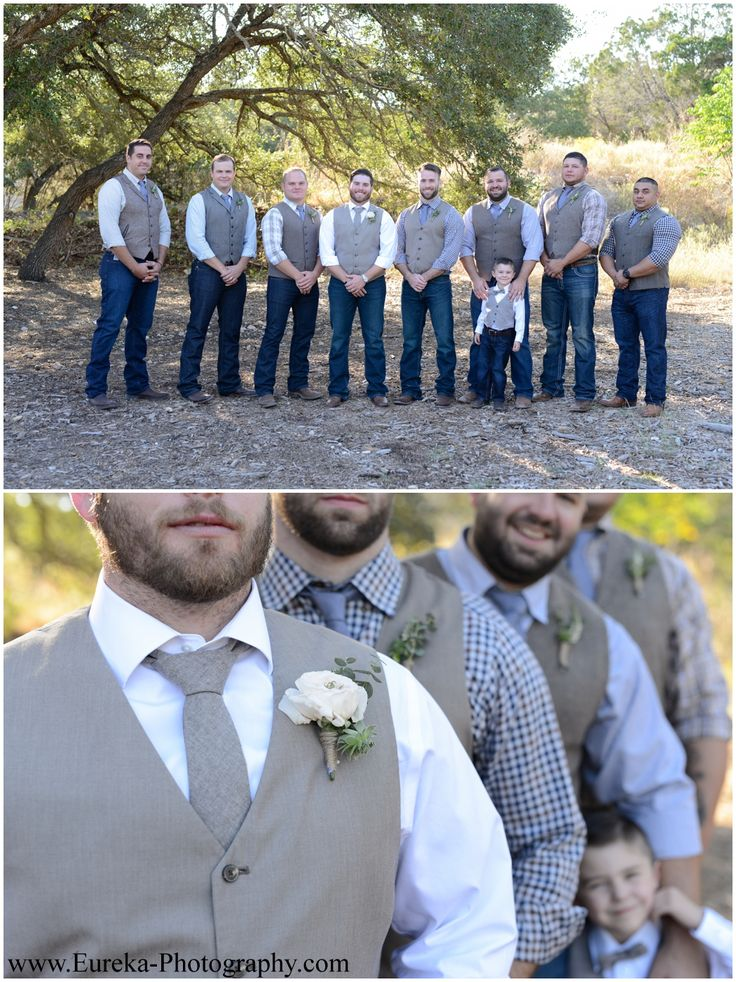 Texas Wedding Style: Groomsmen in jeans, vests, and boots with burlap boutonnieres at Twisted Ranch Wedding near Austin