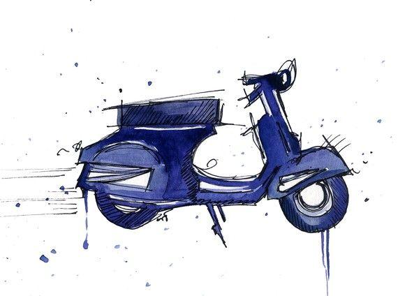 vespa watercolor illustration