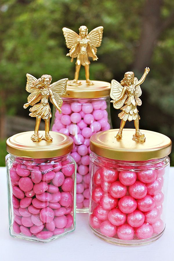 Girly Woodland Party {Mushroom & Fairy Inspired} Crystal we could do gators on top instead.. and do silver or gold tops and fill with practically anything!