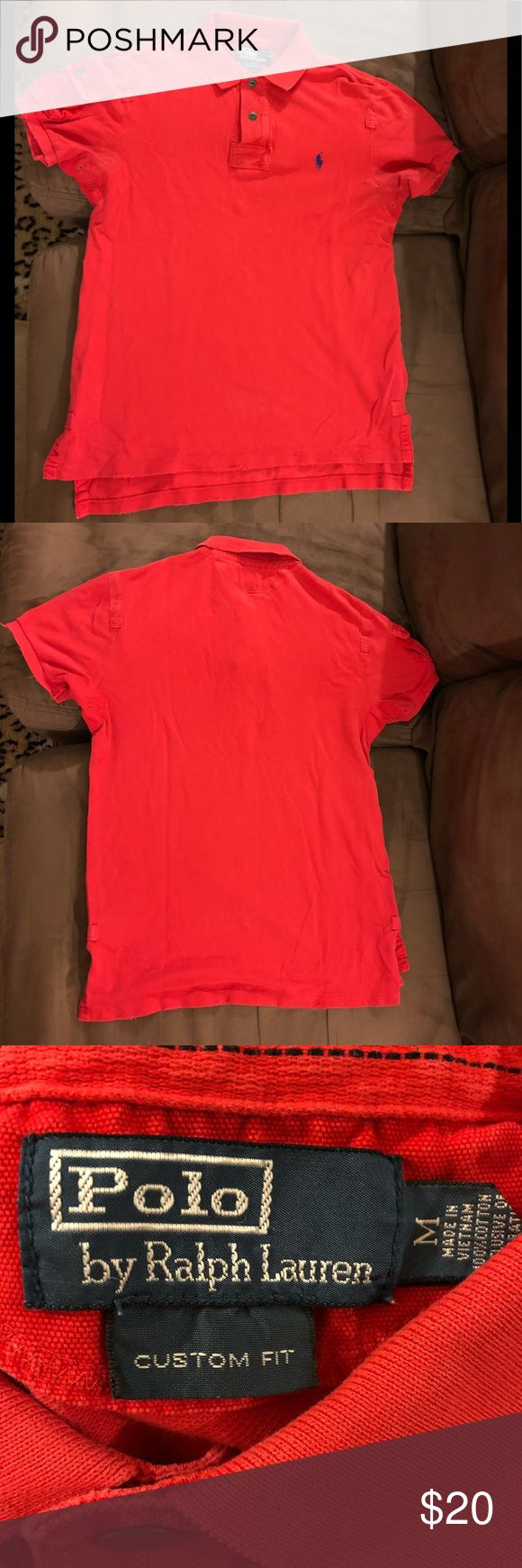 Polo Ralph Lauren Red Distressed Polo Shirt M Polo Ralph Lauren Solid Red Distressed Short Sleeve Polo Shirt size M! Custom Fit! Great condition! Made this way! Please make reasonable offers and bundle! Ask questions! :) Polo by Ralph Lauren Shirts Polos